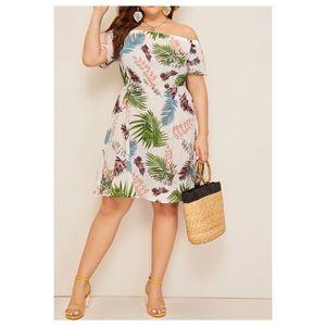 ➕Off-Shoulder Jungle Leaf Dress